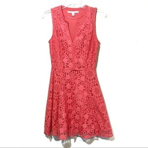 LC Conard pink lace fit and flare A line dress